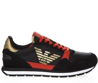 Emporio Armani Multicolored Sneakers In Leather
