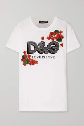 Dolce & Gabbana Flocked Floral-print Cotton-jersey T-shirt - White