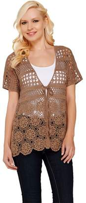 Liz Claiborne New York Hand Crochet Dolman Sleeve Cardigan