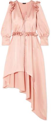 Magda Butrym Tarragona Asymmetric Ruffled Silk-satin Dress - Blush