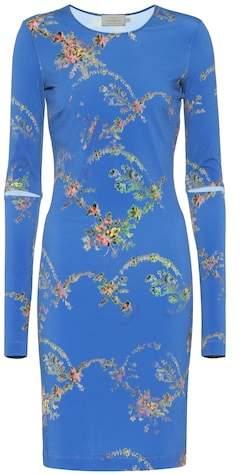 Floral-printed stretch crêpe dress