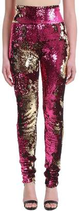 Alexandre Vauthier Sequin Leggins Fuchsia On One Side And Gold On The Other