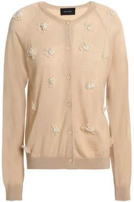 Simone Rocha Floral-Appliquéd Merino Wool Silk And Cashmere-Blend Cardigan