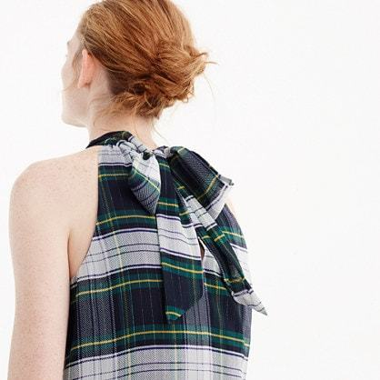 Tie-neck top in stewart plaid