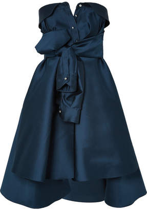 Alexis Mabille Bow-detailed Embellished Duchesse-satin Mini Dress - Navy