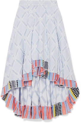 Lemlem Besu Pleated Striped Cotton-blend Jacquard Skirt - Sky blue