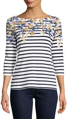 Karen Scott Petite Floral Striped Boatneck Top