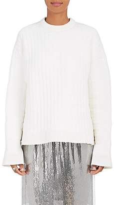 Paco Rabanne WOMEN'S LACE-UP PADDED KNIT SWEATER - 147 - ICE WHITE SIZE XS/S