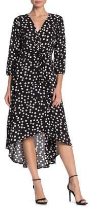 TASH + SOPHIE Polka Dot Bubble Crepe Midi Wrap Dress