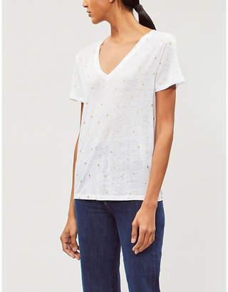 Rails Cara foiled linen-blend T-shirt