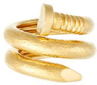 David Webb 18k Hammered Nail Ring, Size 6.5
