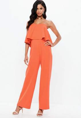 Missguided Orange Double Layer Bandeau Wide Leg Romper