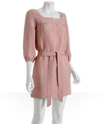 Generra dark nude linen blend belted dress