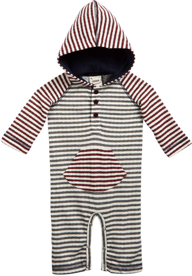 Fore Hooded Stripe Henley Coverall, Size 3-18 Months
