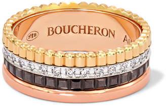 Boucheron Quatre Classique Small 18-karat Yellow, Rose And White Gold Diamond Ring