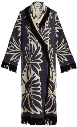 Märit Ilison - Palm Intarsia Fringed Cotton Coat - Womens - Navy White