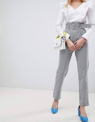 Asos Design DESIGN belted check slim leg pant