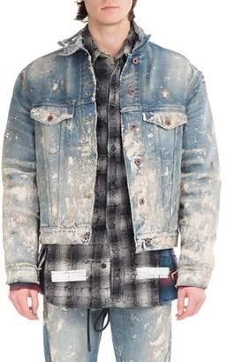 Off-White Painted-Splatter Oversized Denim Jacket $1,175 thestylecure.com