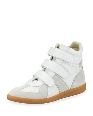 Maison Margiela Men's Triple-Strap Leather & Suede High-Top Sneakers, White
