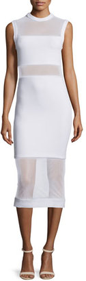 Alice + Olivia Karman Sleeveless Mesh-Trim Midi Dress, White $385 thestylecure.com