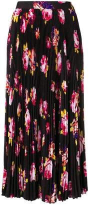MSGM pleated floral print skirt