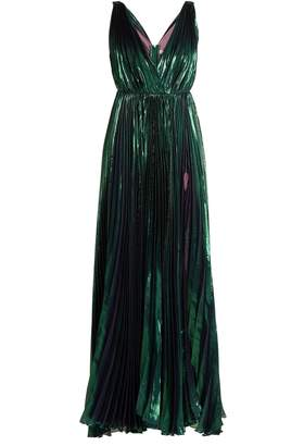 Maria Lucia Hohan Reva deep V-neck pleated lamé gown