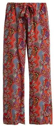 Etro Abstract Floral Print Silk Trousers - Womens - Pink Multi