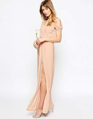 Asos DESIGN WEDDING Drape Cold Shoulder Maxi Dress