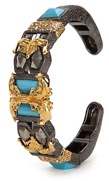 Alexis Bittar Pave Gunmetal Small Baroque Hinge Bracelet