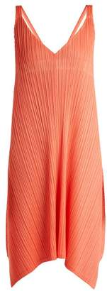 Pleats Please Issey Miyake Pleated V Neck Dress - Womens - Coral