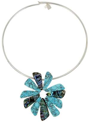 Robert Lee Morris Soho Turquoise Flower Round Necklace, 16""