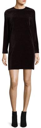 Theory Wynter Stretch-Velvet Shift Dress, Plum $375 thestylecure.com