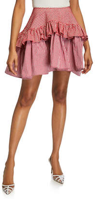 24b6418f11ce ANAÏS JOURDEN Embroidered Faux-Leather Gingham Ruffle Skirt