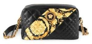 1a75b78d2e2 Versace Women s Icon Barocco Stripe Quilted Leather Crossbody Bag - Black  Multi