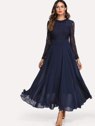 Shein Lace Top Maxi Flowy From Dress