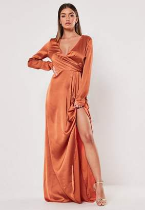 Missguided Tall Rust Wrap Front Maxi Dress