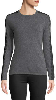 Neiman Marcus Crewneck Cashmere Sweater with Lace Trim