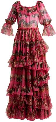 Dolce & Gabbana Butterfly-print ruffled silk-chiffon gown