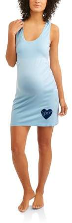 Labor of Love Maternity Seamless Racer Back Chemise With Love Graphic-- available in plus size