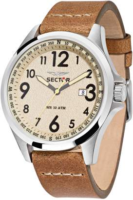 Sector Men's 46mm Brown Leather Band Steel Case Quartz Analog Watch 3251180012