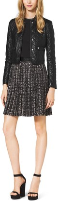 Michael Kors Pleated Stretch-Boucle Crepe Dress