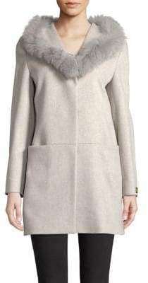 Cinzia Rocca Fox Fur-Trimmed Wool Walker Coat