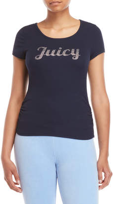 Juicy Couture Ribbed Lace-Up Embellished Tee