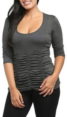 24/7 Comfort Apparel Women's 3/4 Sleeve Shirred Top