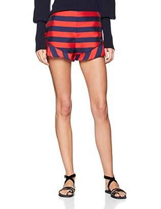 Armani Exchange Women's Colour Ruffle Short, (Stripes Blue M/Rouge 6563), (Size: 10)