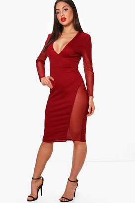 boohoo Plunge Neck Mesh Insert Midi Dress 2ca2cd710