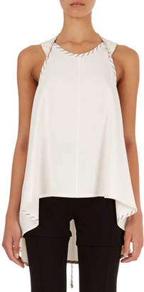 Victoria Beckham Wrap-Detail Top with High-Low Hem