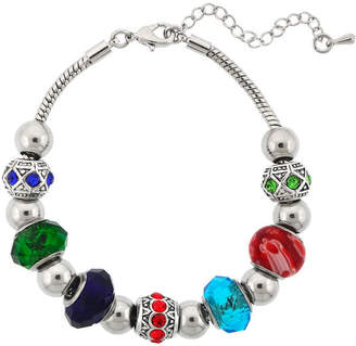 SPARKLE ALLURE Dazzling Designs Silver-Plated Multicolor Glass Bead Bracelet