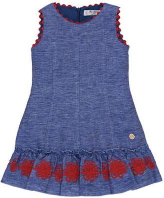 Carrera Pili Denim Dress w/ Rack Rack Passementerie Skirt, Size 4-10
