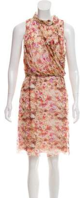 Zac Posen Floral Print Silk Dress